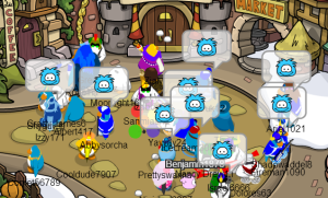 Puffle bomb at the Town.